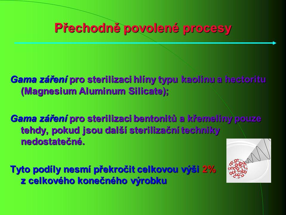 Přechodně povolené procesy Gama záření pro sterilizaci hlíny typu kaolinu a hectoritu (Magnesium Aluminum Silicate); Gama záření pro sterilizaci bento