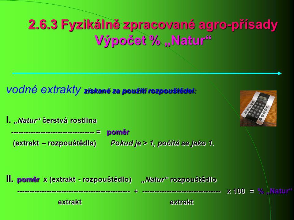 """2.6.3 Fyzikálně zpracované agro-přísady Výpočet % """"Natur"""" získané za použití rozpouštědel: vodné extrakty získané za použití rozpouštědel: """"Natur"""" čer"""
