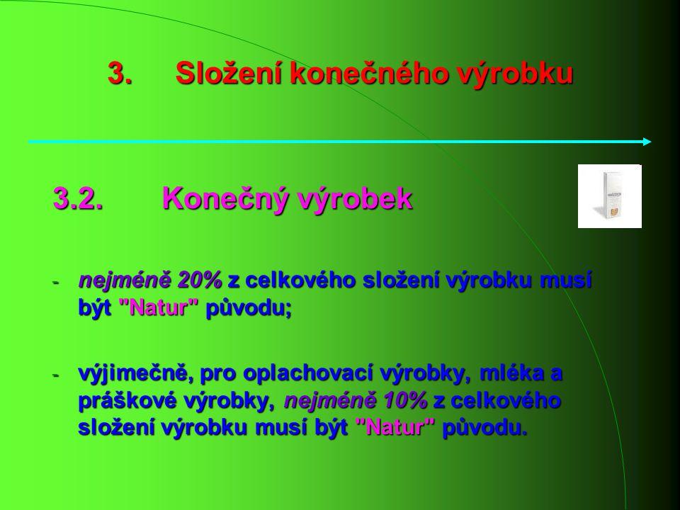 3. Složení konečného výrobku 3.2. Konečný výrobek - nejméně 20% z celkového složení výrobku musí být