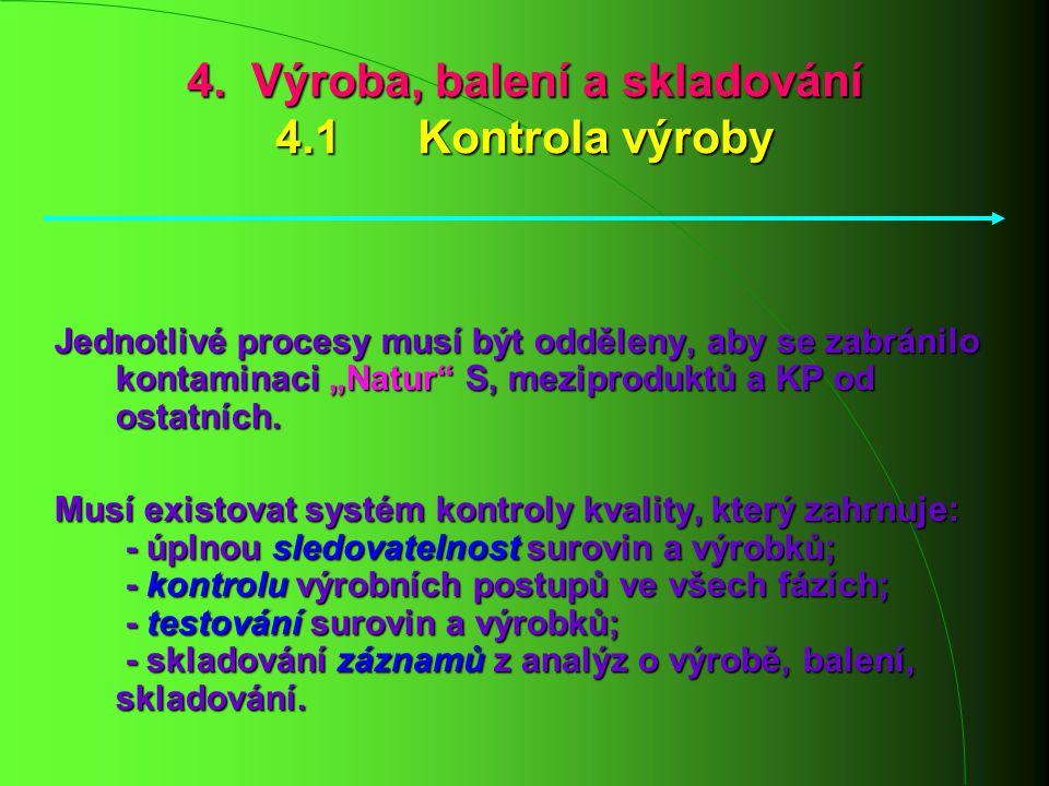 """4. Výroba, balení a skladování 4.1 Kontrola výroby Jednotlivé procesy musí být odděleny, aby se zabránilo kontaminaci """"Natur"""" S, meziproduktů a KP od"""
