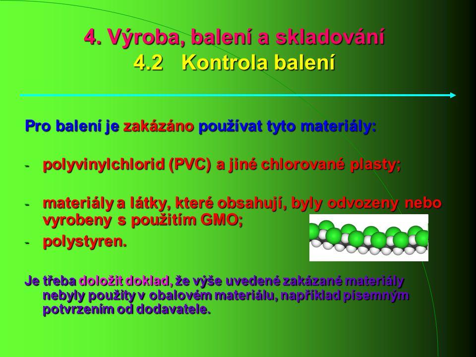 4. Výroba, balení a skladování 4.2 Kontrola balení Pro balení je zakázáno používat tyto materiály: - polyvinylchlorid (PVC) a jiné chlorované plasty;