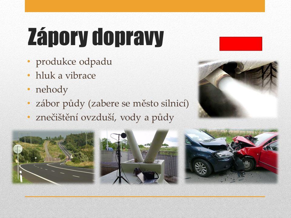 Zápory dopravy produkce odpadu hluk a vibrace nehody zábor půdy (zabere se město silnicí) znečištění ovzduší, vody a půdy
