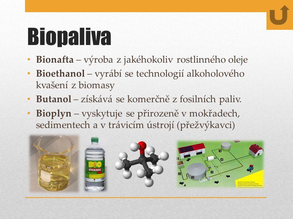 Biopaliva Bionafta – výroba z jakéhokoliv rostlinného oleje Bioethanol – vyrábí se technologií alkoholového kvašení z biomasy Butanol – získává se komerčně z fosilních paliv.