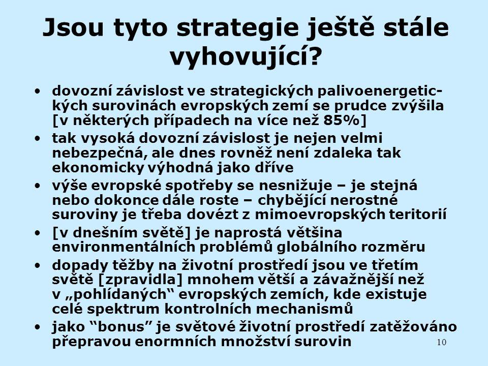 10 Jsou tyto strategie ještě stále vyhovující? dovozní závislost ve strategických palivoenergetic- kých surovinách evropských zemí se prudce zvýšila [