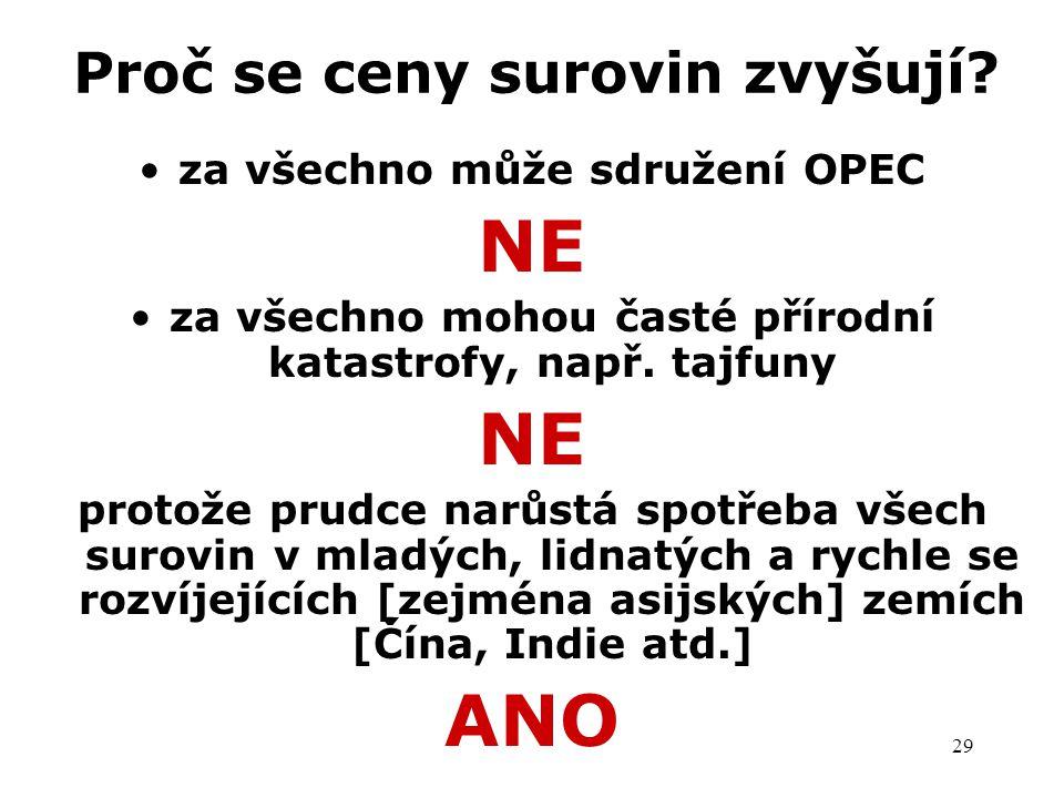 29 Proč se ceny surovin zvyšují? za všechno může sdružení OPEC NE za všechno mohou časté přírodní katastrofy, např. tajfuny NE protože prudce narůstá