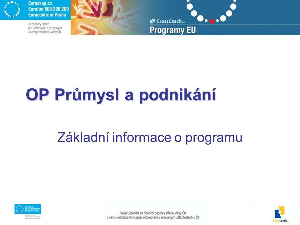 OP Průmysl a podnikání Základní informace o programu