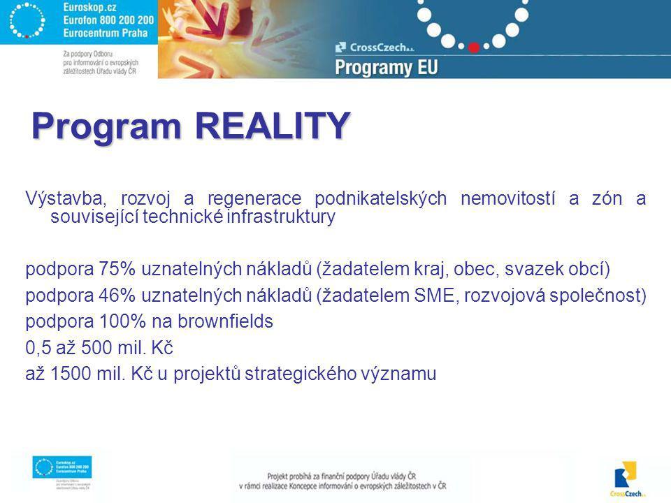 Program REALITY Výstavba, rozvoj a regenerace podnikatelských nemovitostí a zón a související technické infrastruktury podpora 75% uznatelných nákladů (žadatelem kraj, obec, svazek obcí) podpora 46% uznatelných nákladů (žadatelem SME, rozvojová společnost) podpora 100% na brownfields 0,5 až 500 mil.