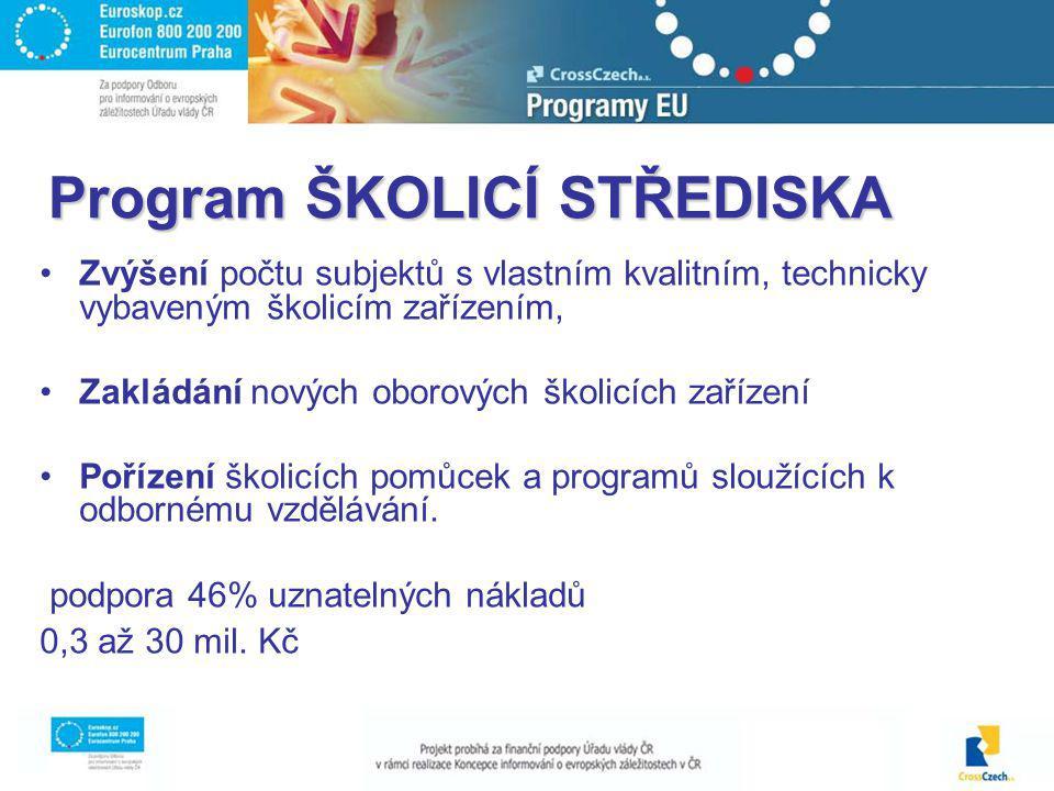 Program ŠKOLICÍ STŘEDISKA Zvýšení počtu subjektů s vlastním kvalitním, technicky vybaveným školicím zařízením, Zakládání nových oborových školicích za