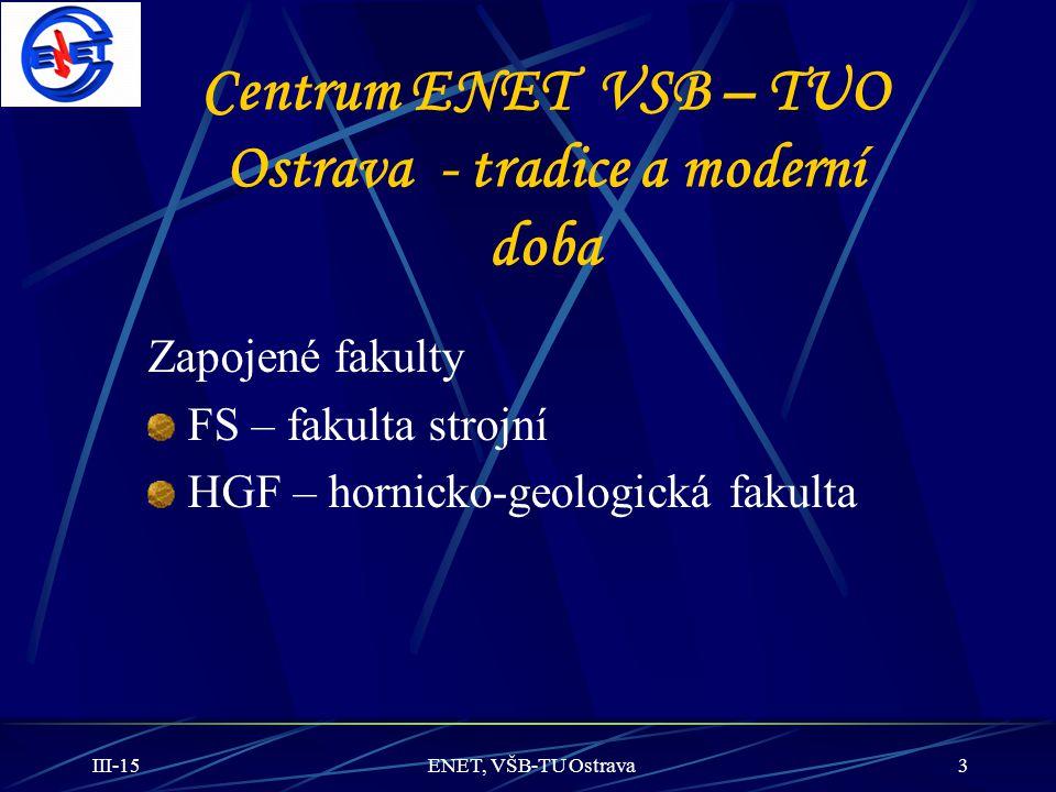 III-15ENET, VŠB-TU Ostrava3 Centrum ENET VSB – TUO Ostrava - tradice a moderní doba Zapojené fakulty FS – fakulta strojní HGF – hornicko-geologická fa