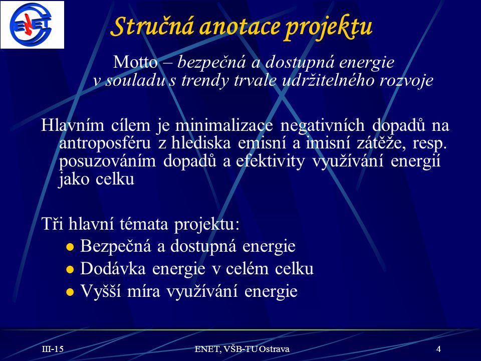III-15ENET, VŠB-TU Ostrava4 Stručná anotace projektu Motto – bezpečná a dostupná energie v souladu s trendy trvale udržitelného rozvoje Hlavním cílem
