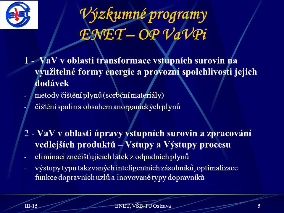 III-15ENET, VŠB-TU Ostrava5 Výzkumné programy ENET – OP VaVPi 1 - VaV v oblasti transformace vstupních surovin na využitelné formy energie a provozní