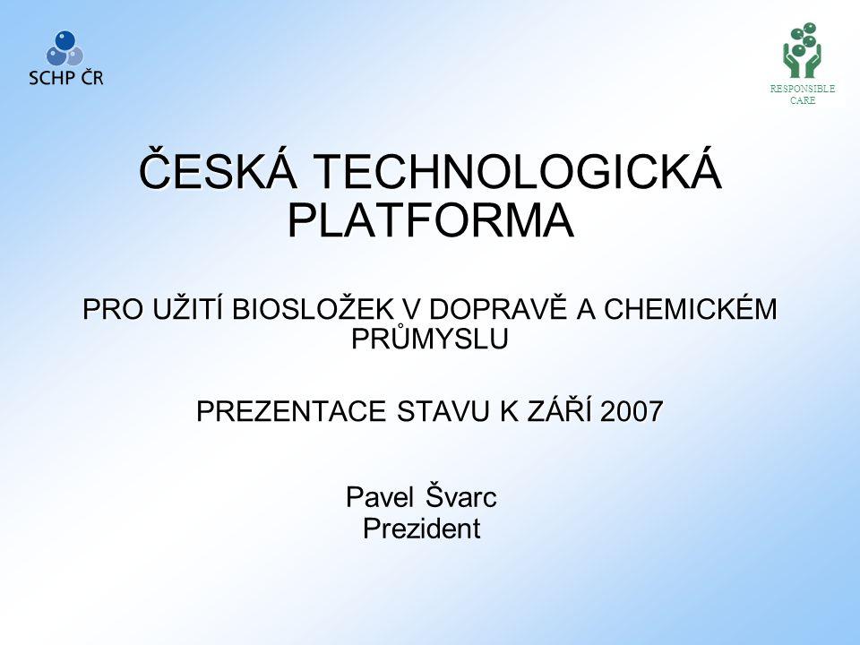 ČESKÁ TECHNOLOGICKÁ PLATFORMA PRO UŽITÍ BIOSLOŽEK V DOPRAVĚ A CHEMICKÉM PRŮMYSLU PREZENTACE STAVU K ZÁŘÍ 2007 Pavel Švarc Prezident RESPONSIBLE CARE