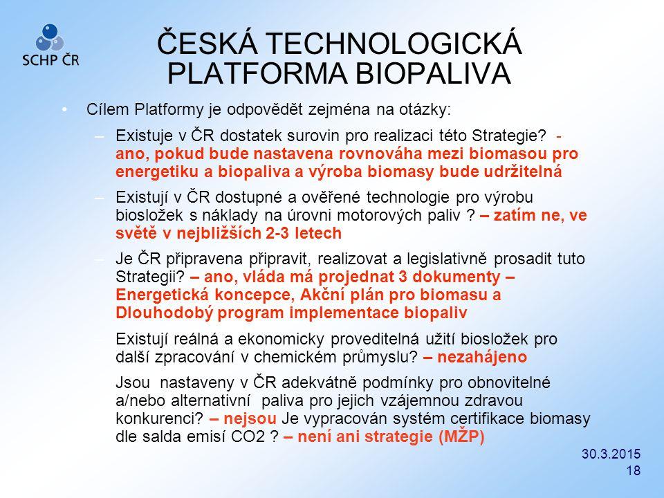 30.3.2015 18 ČESKÁ TECHNOLOGICKÁ PLATFORMA BIOPALIVA Cílem Platformy je odpovědět zejména na otázky: –Existuje v ČR dostatek surovin pro realizaci tét