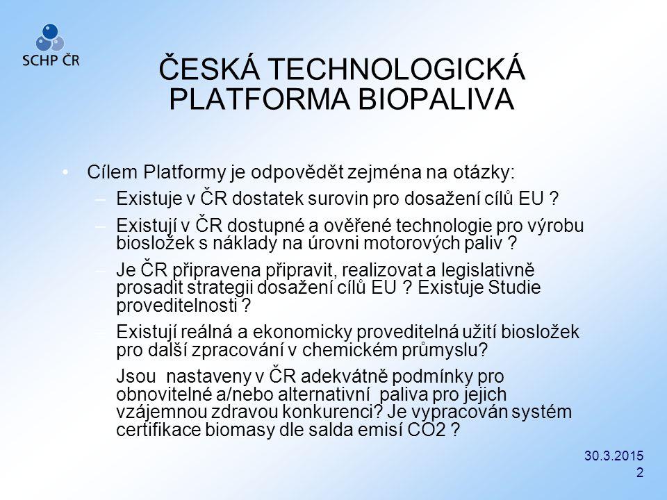 30.3.2015 2 ČESKÁ TECHNOLOGICKÁ PLATFORMA BIOPALIVA Cílem Platformy je odpovědět zejména na otázky: –Existuje v ČR dostatek surovin pro dosažení cílů