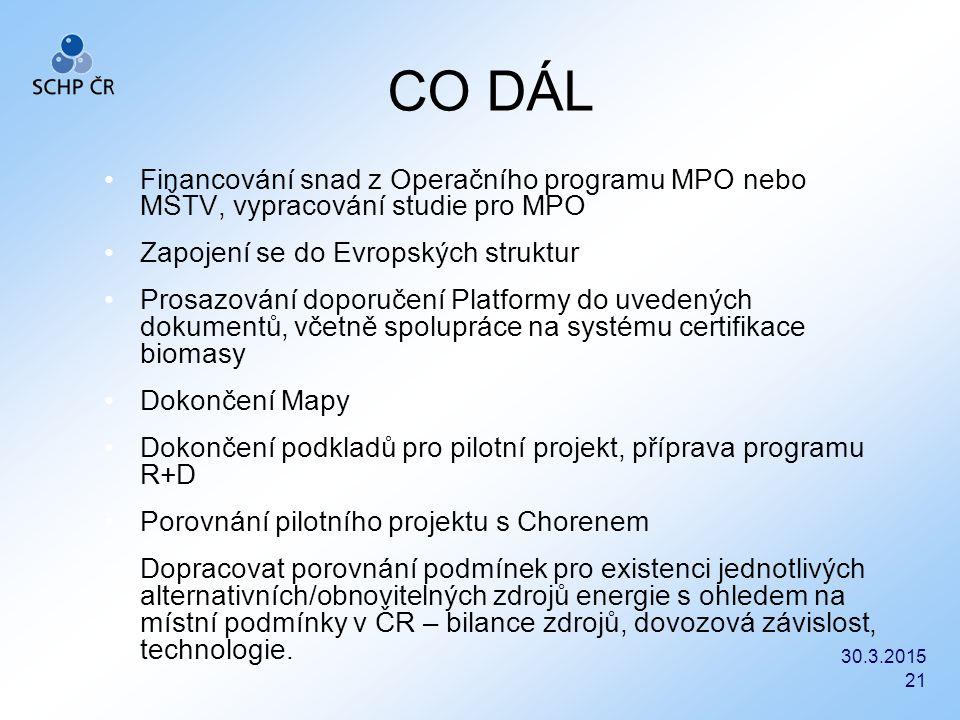 30.3.2015 21 CO DÁL Financování snad z Operačního programu MPO nebo MŠTV, vypracování studie pro MPO Zapojení se do Evropských struktur Prosazování do