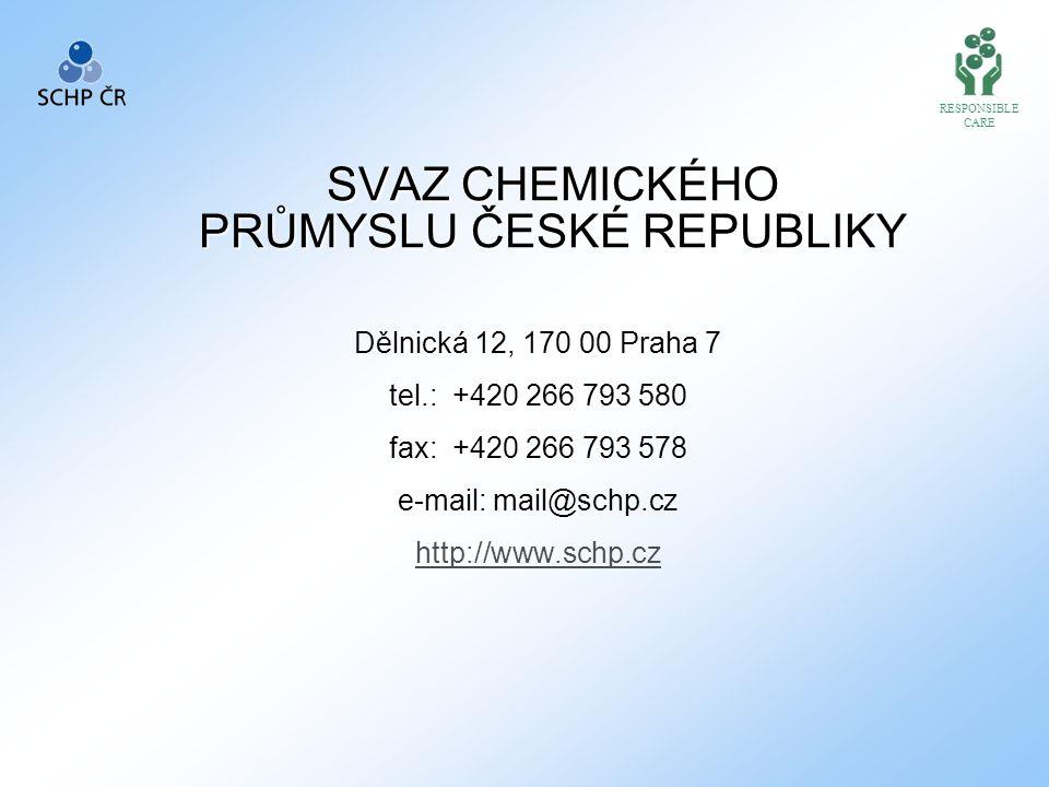 SVAZ CHEMICKÉHO PRŮMYSLU ČESKÉ REPUBLIKY Dělnická 12, 170 00 Praha 7 tel.: +420 266 793 580 fax: +420 266 793 578 e-mail: mail@schp.cz http://www.schp