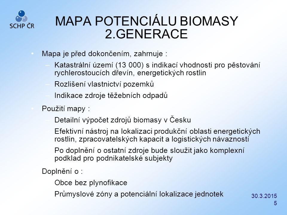 30.3.2015 5 MAPA POTENCIÁLU BIOMASY 2.GENERACE Mapa je před dokončením, zahrnuje : –Katastrální území (13 000) s indikací vhodnosti pro pěstování rych