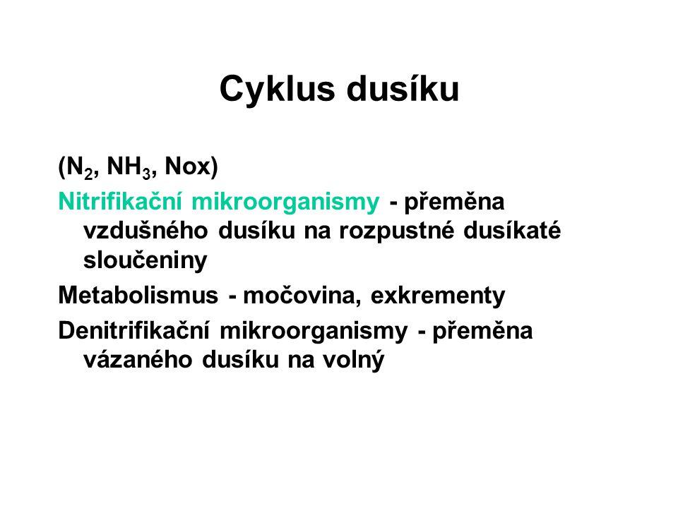 Cyklus dusíku (N 2, NH 3, Nox) Nitrifikační mikroorganismy - přeměna vzdušného dusíku na rozpustné dusíkaté sloučeniny Metabolismus - močovina, exkrem