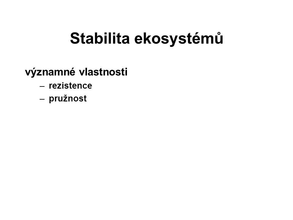 Stabilita ekosystémů významné vlastnosti –rezistence –pružnost