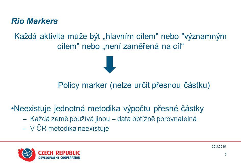 """Rio Markers Každá aktivita může být """"hlavním cílem nebo významným cílem nebo """"není zaměřená na cíl Policy marker (nelze určit přesnou částku) Neexistuje jednotná metodika výpočtu přesné částky –Každá země používá jinou – data obtížně porovnatelná –V ČR metodika neexistuje 3 30.3.2015"""
