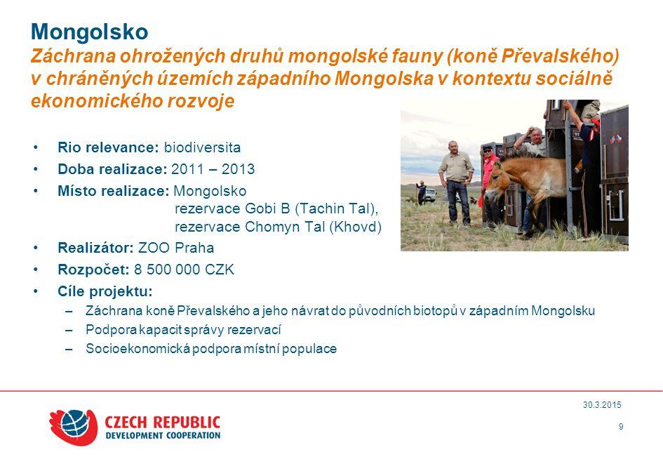 9 30.3.2015 Mongolsko Záchrana ohrožených druhů mongolské fauny (koně Převalského) v chráněných územích západního Mongolska v kontextu sociálně ekonomického rozvoje Rio relevance: biodiversita Doba realizace: 2011 – 2013 Místo realizace: Mongolsko rezervace Gobi B (Tachin Tal), rezervace Chomyn Tal (Khovd) Realizátor: ZOO Praha Rozpočet: 8 500 000 CZK Cíle projektu: –Záchrana koně Převalského a jeho návrat do původních biotopů v západním Mongolsku –Podpora kapacit správy rezervací –Socioekonomická podpora místní populace