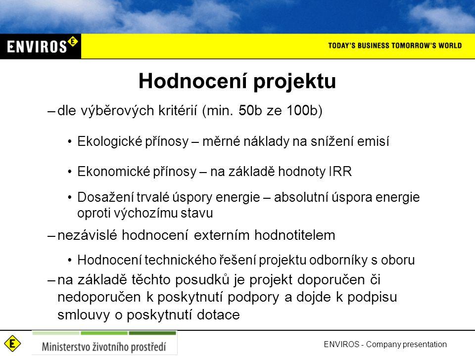 Hodnocení projektu –dle výběrových kritérií (min.