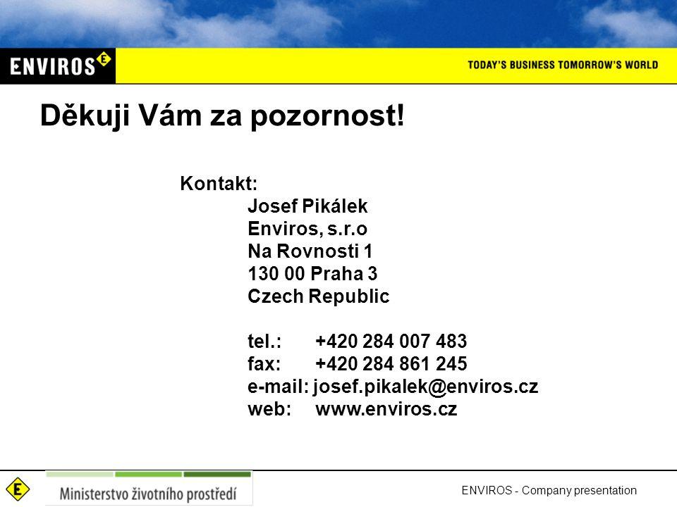 Děkuji Vám za pozornost! Kontakt: Josef Pikálek Enviros, s.r.o Na Rovnosti 1 130 00 Praha 3 Czech Republic tel.: +420 284 007 483 fax: +420 284 861 24