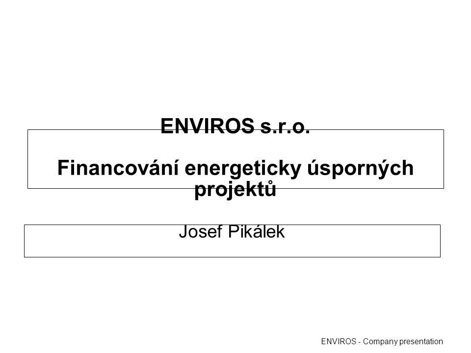 Program Eko-energie OPPI –poskytovatelem dotace je MPO –určeno pro podnikatelské subjekty bez rozdílů velikosti –v programovém období 2007 – 2013 je finanční alokace stanovena na 11,3 mld.Kč –doposud vyčerpáno přibližně 9 mld.Kč –dotace je vyplácena zpětně ENVIROS - Company presentation