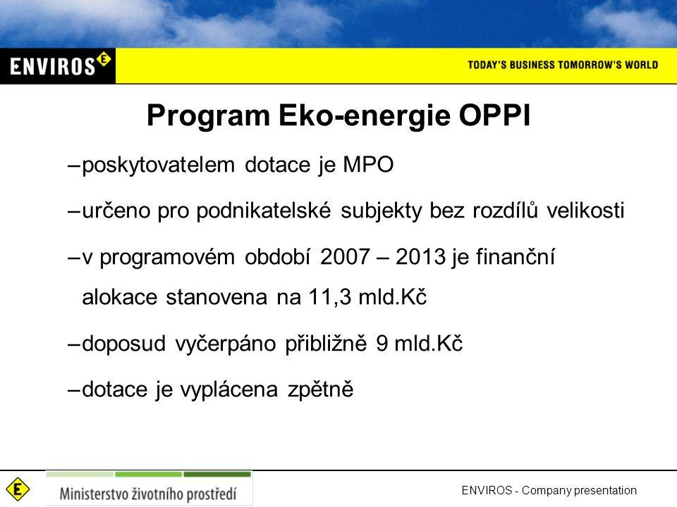 Program Eko-energie OPPI –poskytovatelem dotace je MPO –určeno pro podnikatelské subjekty bez rozdílů velikosti –v programovém období 2007 – 2013 je f