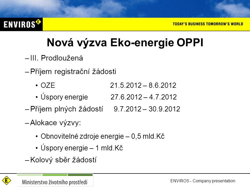 Nová výzva Eko-energie OPPI –III. Prodloužená –Příjem registrační žádosti OZE 21.5.2012 – 8.6.2012 Úspory energie 27.6.2012 – 4.7.2012 –Příjem plných
