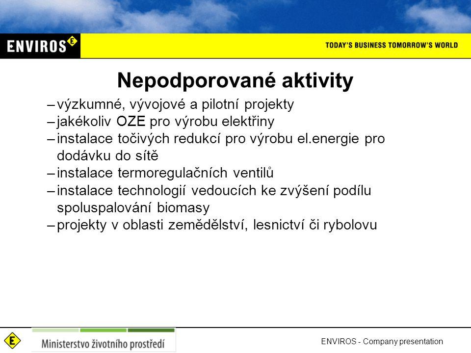 Nepodporované aktivity –výzkumné, vývojové a pilotní projekty –jakékoliv OZE pro výrobu elektřiny –instalace točivých redukcí pro výrobu el.energie pr