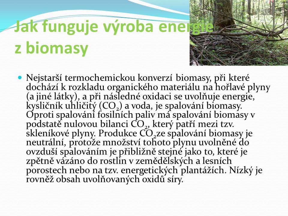 Jak funguje výroba energie z biomasy Nejstarší termochemickou konverzí biomasy, při které dochází k rozkladu organického materiálu na hořlavé plyny (a