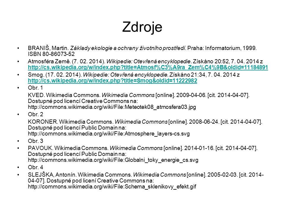 Zdroje BRANIŠ, Martin. Základy ekologie a ochrany životního prostředí. Praha: Informatorium, 1999. ISBN 80-86073-52 Atmosféra Země. (7. 02. 2014). Wik