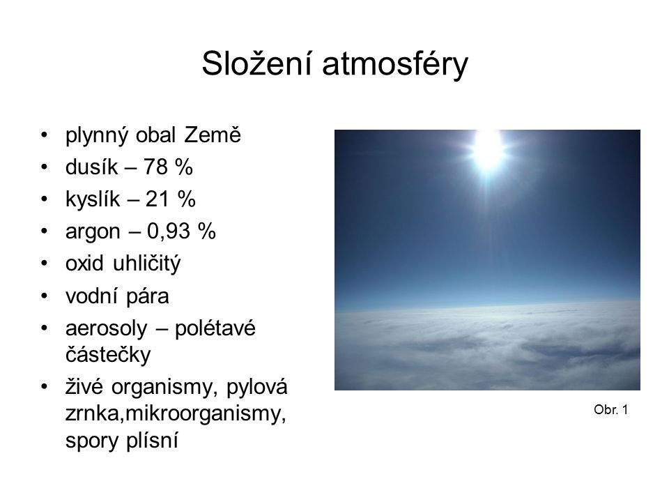 Složení atmosféry plynný obal Země dusík – 78 % kyslík – 21 % argon – 0,93 % oxid uhličitý vodní pára aerosoly – polétavé částečky živé organismy, pylová zrnka,mikroorganismy, spory plísní Obr.