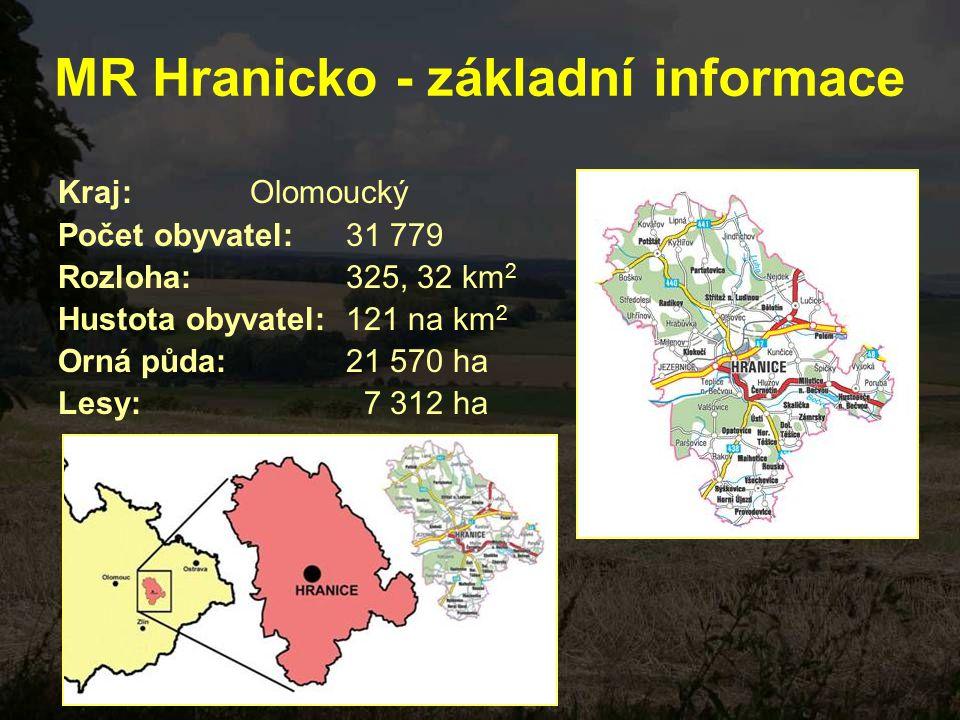 MR Hranicko - základní informace Kraj: Olomoucký Počet obyvatel: 31 779 Rozloha: 325, 32 km 2 Hustota obyvatel: 121 na km 2 Orná půda: 21 570 ha Lesy: