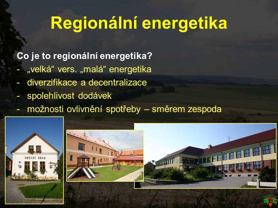 """Regionální energetika Co je to regionální energetika? -""""velká"""" vers. """"malá"""" energetika -diverzifikace a decentralizace -spolehlivost dodávek -možnosti"""
