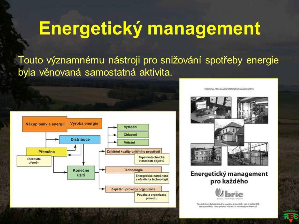 Energetický management Touto významnému nástroji pro snižování spotřeby energie byla věnovaná samostatná aktivita.