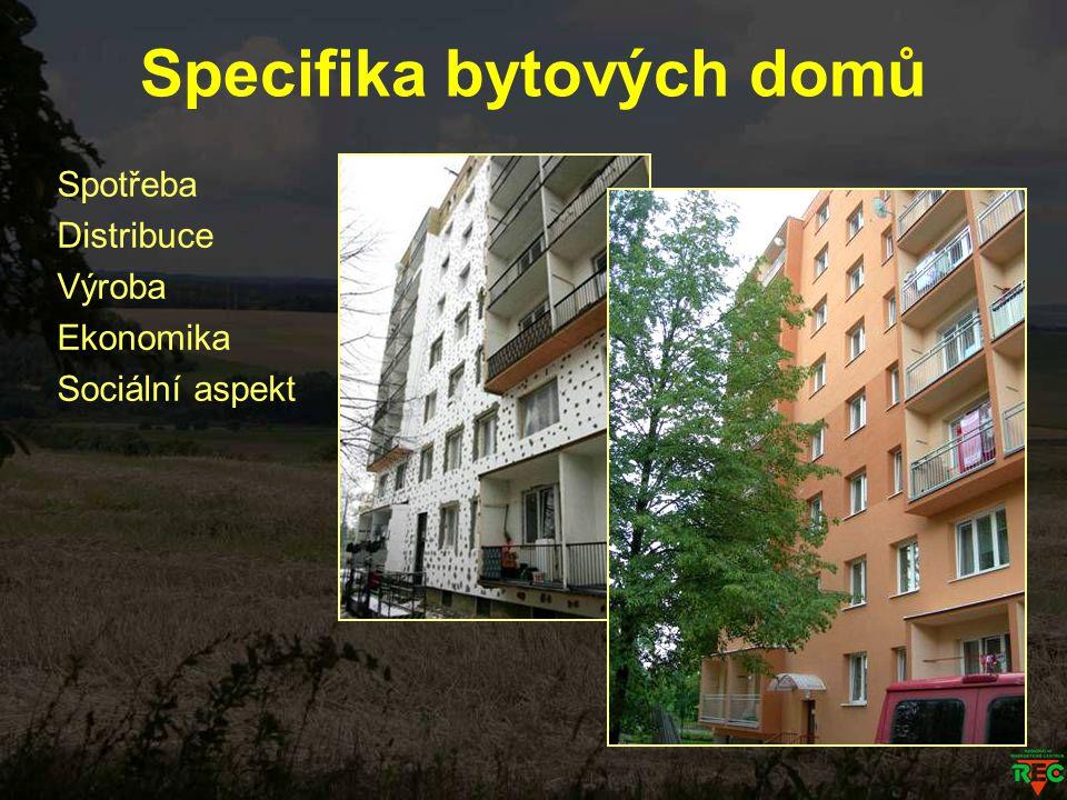 Specifika bytových domů Spotřeba Distribuce Výroba Ekonomika Sociální aspekt