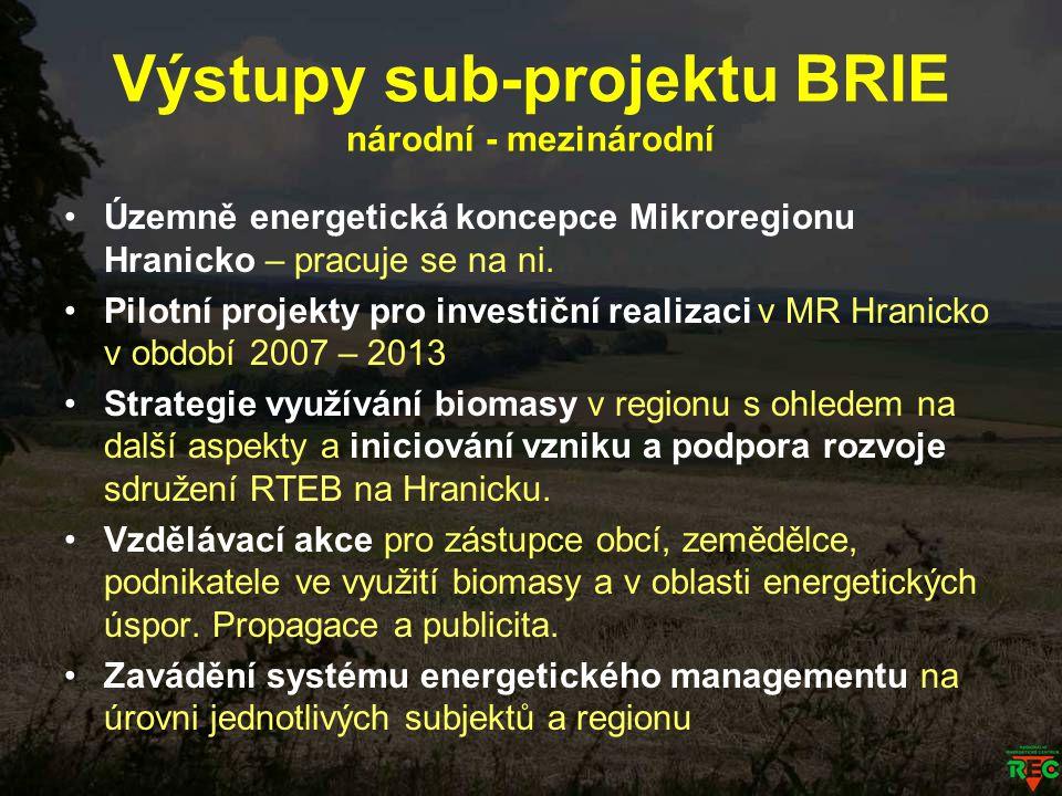 Výstupy sub-projektu BRIE národní - mezinárodní Územně energetická koncepce Mikroregionu Hranicko – pracuje se na ni. Pilotní projekty pro investiční