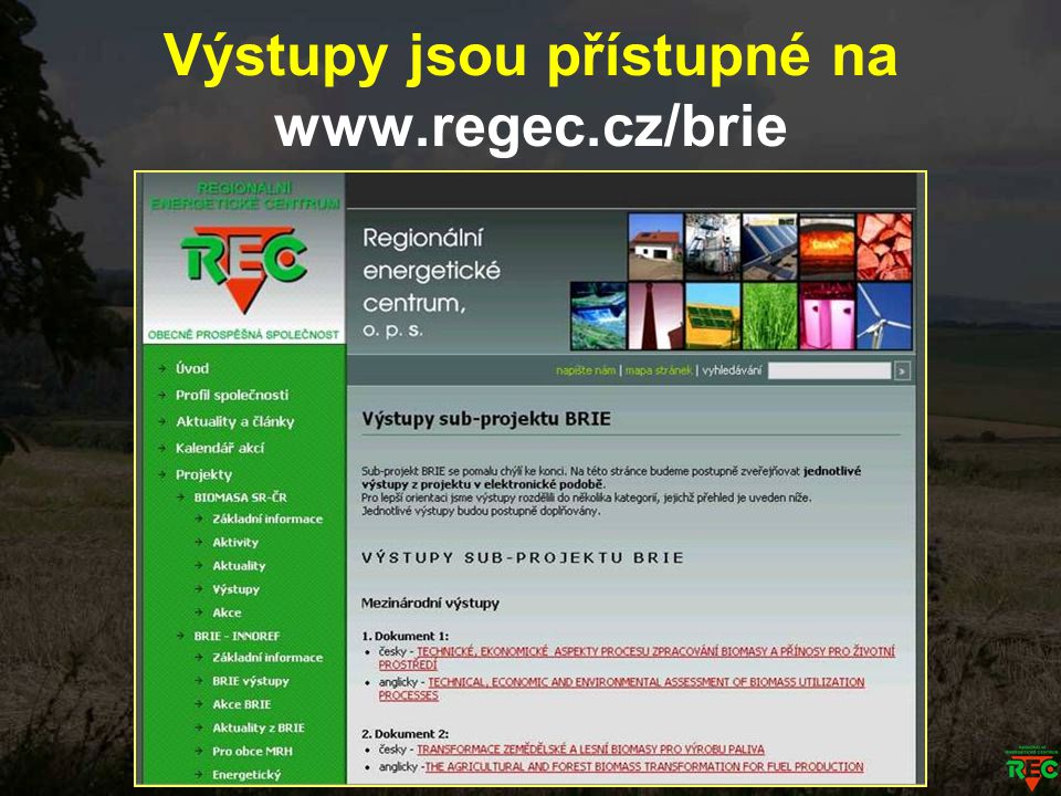Výstupy jsou přístupné na www.regec.cz/brie