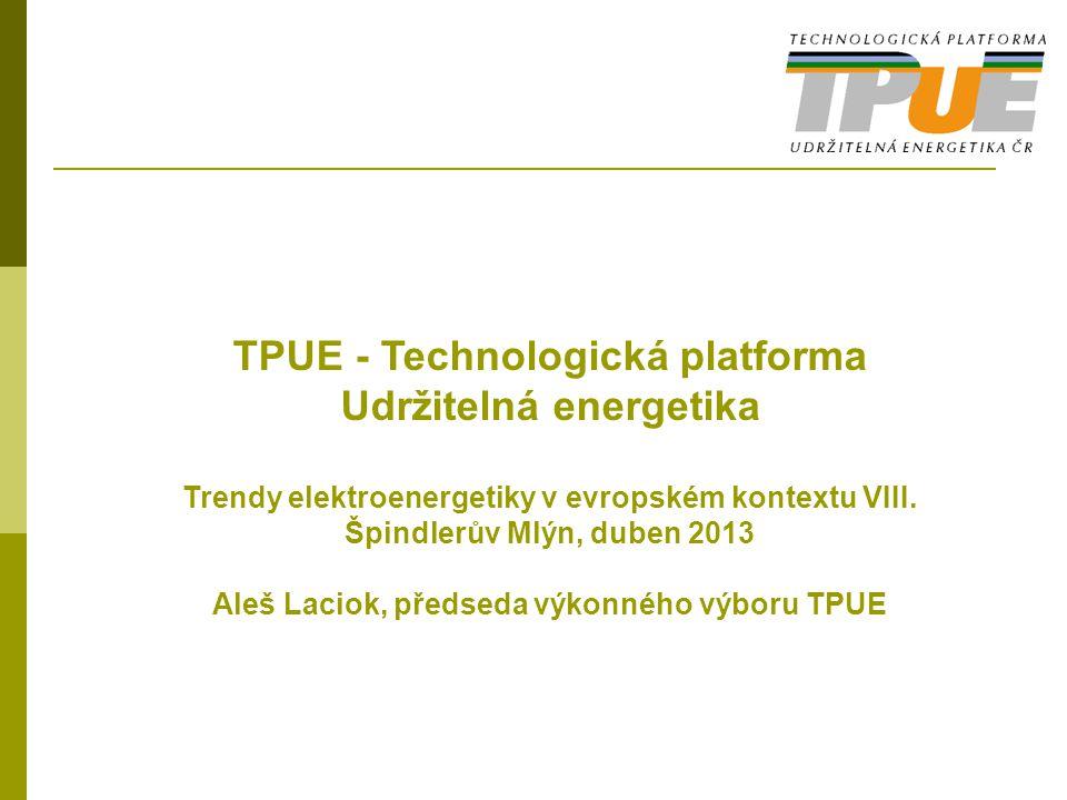 IAP TPUE – tematické oblasti Jaderná energetika Klasické zdroje Opatřování, distribuce a využití tepla Sítě Inteligentní města a regiony (Smart Cities and Communities) Perspektivní energetické technologie a systémy s uplatněním v dlouhodobějším časovém horizontu Systémový pohled na energetiku (metodiky, data) – podpora vytváření vyvážených strategií
