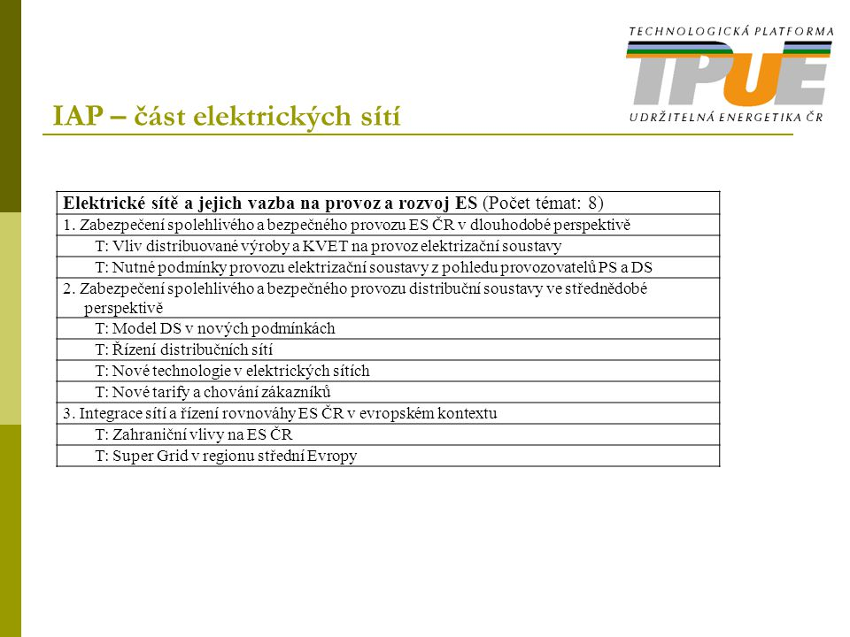 IAP – část elektrických sítí Elektrické sítě a jejich vazba na provoz a rozvoj ES (Počet témat: 8) 1. Zabezpečení spolehlivého a bezpečného provozu ES