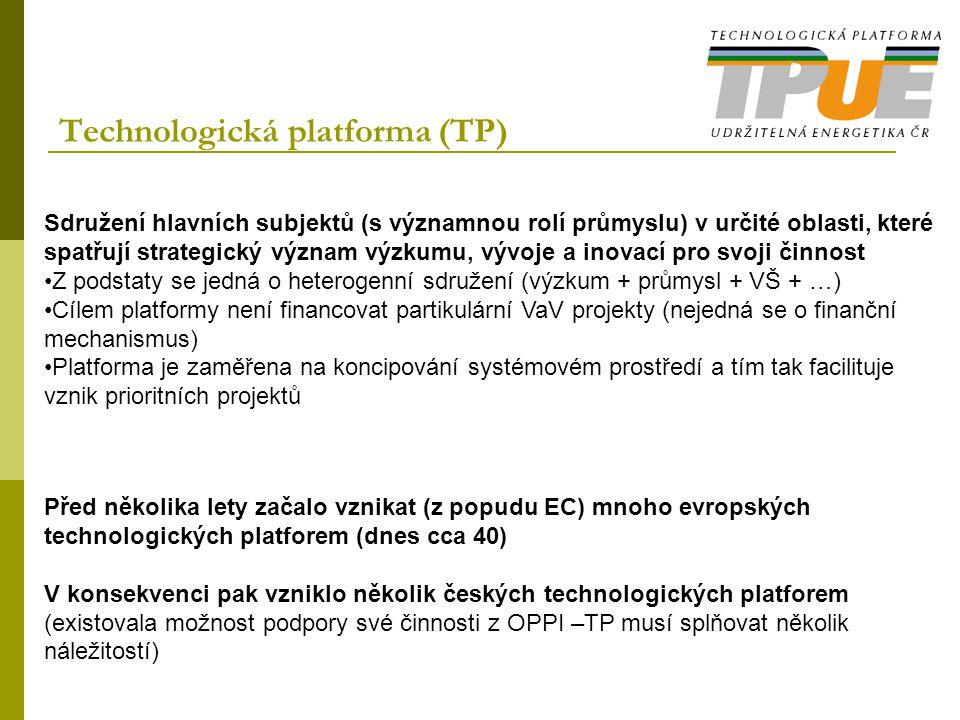 Technologická platforma (TP) Sdružení hlavních subjektů (s významnou rolí průmyslu) v určité oblasti, které spatřují strategický význam výzkumu, vývoj