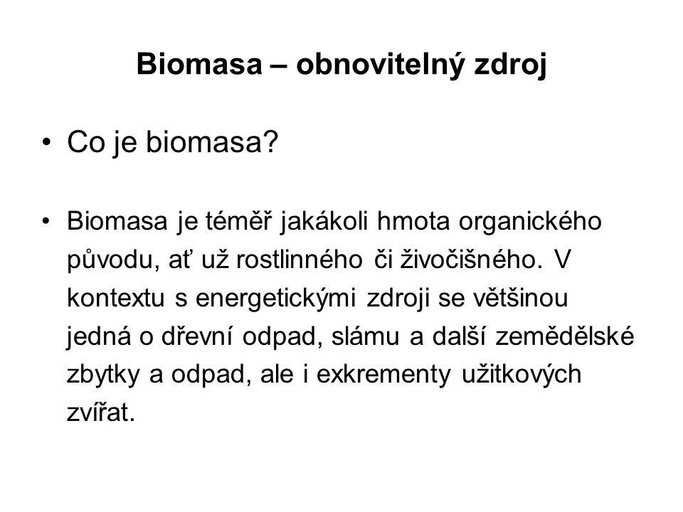 Biomasa – obnovitelný zdroj Co je biomasa.