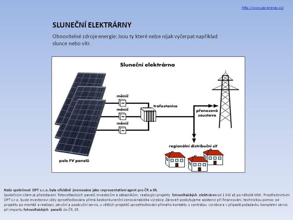 SLUNEČNÍ ELEKTRÁRNY Obnovitelné zdroje energie: Jsou ty které nelze nijak vyčerpat například slunce nebo vítr.