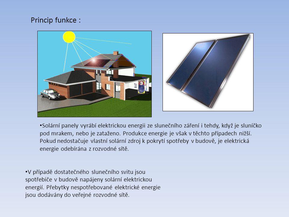 Princip funkce : Solární panely vyrábí elektrickou energii ze slunečního záření i tehdy, když je sluníčko pod mrakem, nebo je zataženo.