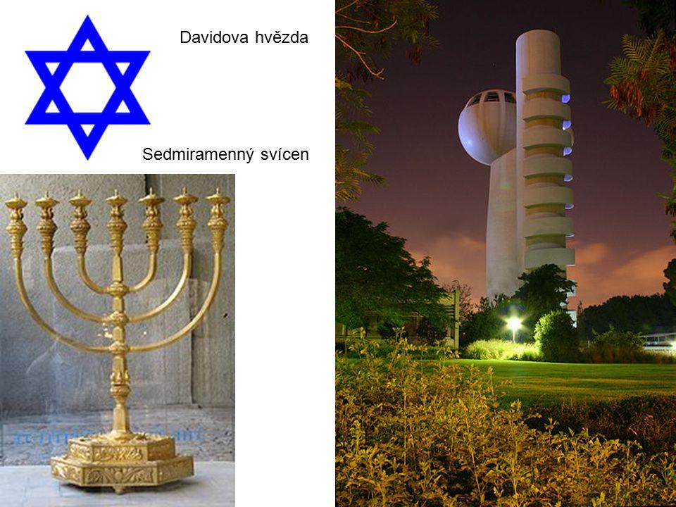 Davidova hvězda Sedmiramenný svícen