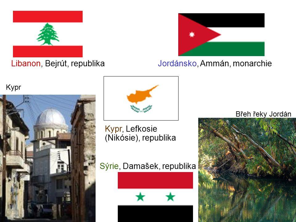 Libanon, Bejrút, republika Sýrie, Damašek, republika Jordánsko, Ammán, monarchie Břeh řeky Jordán Kypr, Lefkosie (Nikósie), republika Kypr