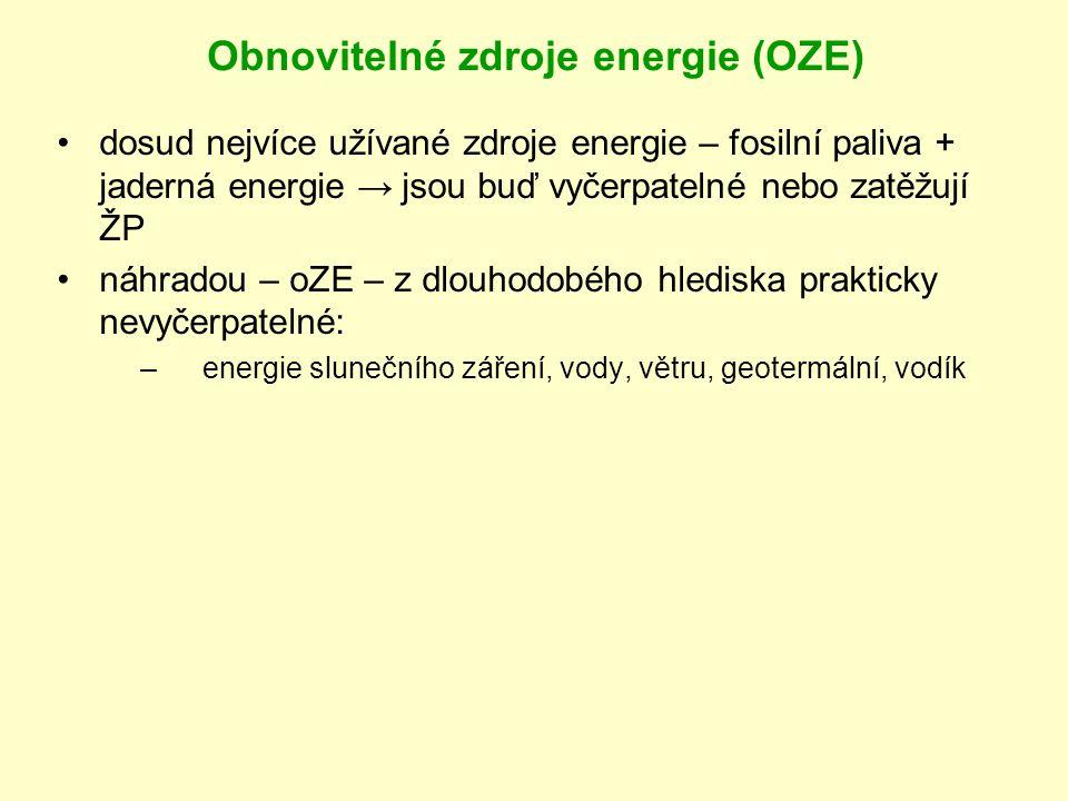 Obnovitelné zdroje energie (OZE) dosud nejvíce užívané zdroje energie – fosilní paliva + jaderná energie → jsou buď vyčerpatelné nebo zatěžují ŽP náhradou – oZE – z dlouhodobého hlediska prakticky nevyčerpatelné: –e–energie slunečního záření, vody, větru, geotermální, vodík