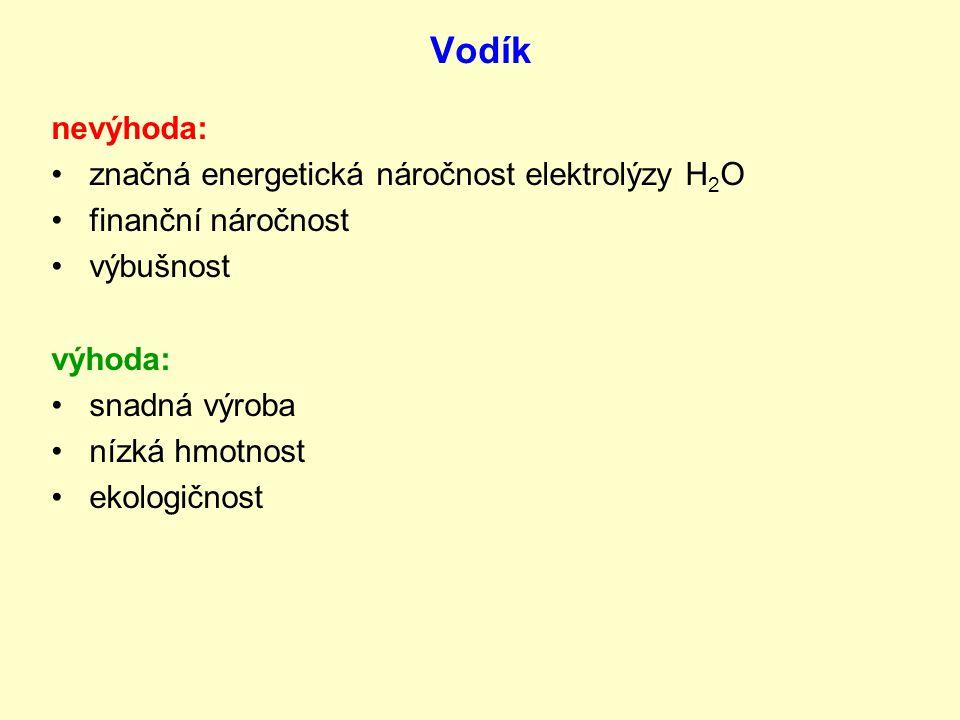 Vodík nevýhoda: značná energetická náročnost elektrolýzy H 2 O finanční náročnost výbušnost výhoda: snadná výroba nízká hmotnost ekologičnost